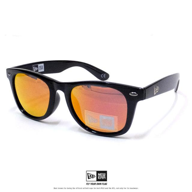 NEW ERA (ニューエラ) サングラス スクエアレンズ シャイニーブラックフレーム オレンジミラーレンズ (12325623)