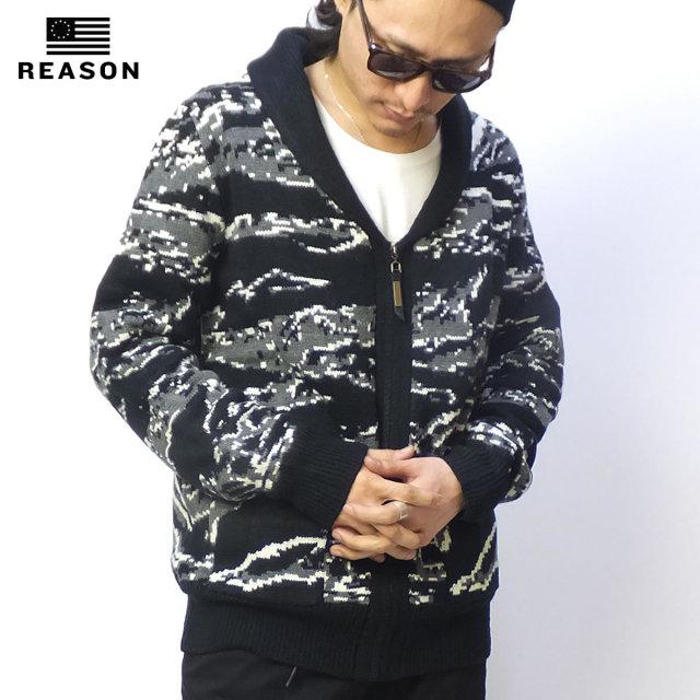REASON リーズン ジップカーディガン JUNGLE CAMO SHAWL SWEATER 4V7124