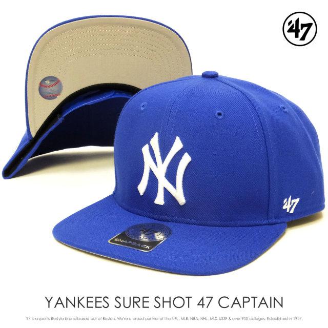 フォーティーセブンブランド 47BRAND キャップ 帽子 メンズ ニューヨーク・ヤンキース YANKEES SURE SHOT 47 CAPTAIN CAP ブルー (B-SRS17WBP-SB)