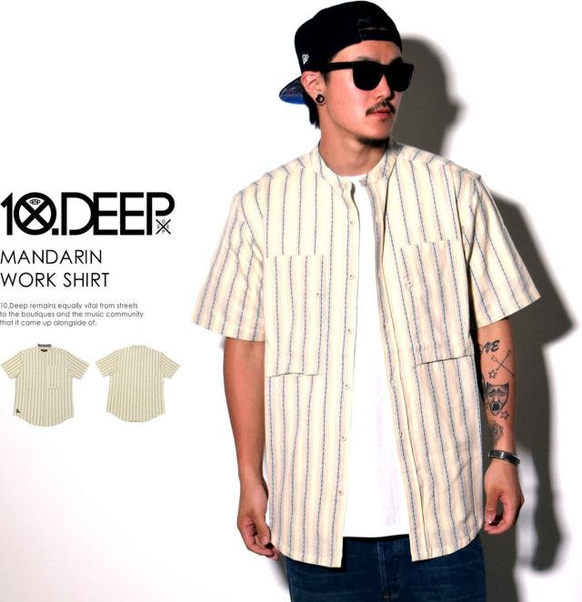 10DEEP テンディープ 半袖シャツ MANDARIN WORK SHIRT 61TD3221 6V1435