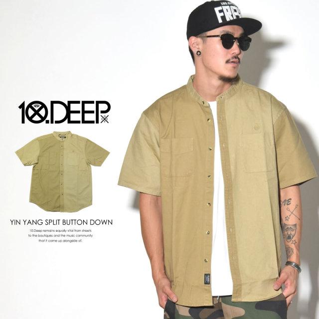 10DEEP(テンディープ) YIN YANG SPLIT BUTTON DOWN 62TD3203 半袖バンドカラーシャツ 6V3274