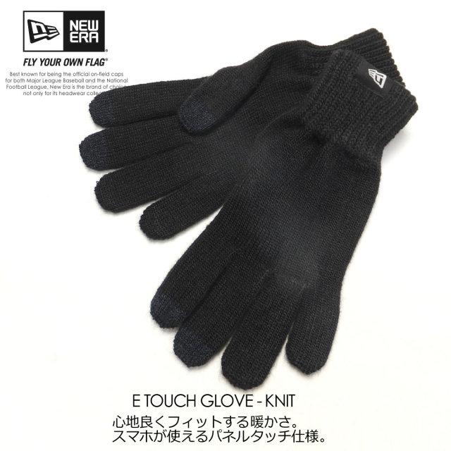 NEW ERA ニューエラ グローブ スマホ手袋 E TOUCH KNIT GLOVE ブラック 11321607 6V7040
