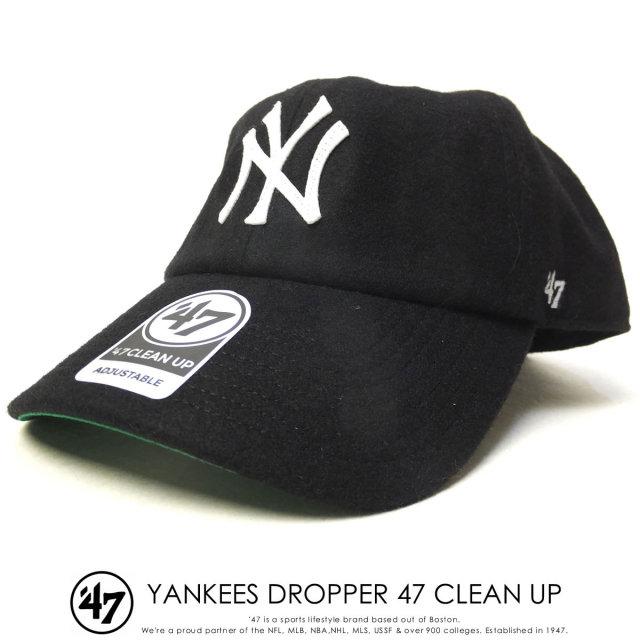 フォーティーセブンブランド 47BRAND キャップ 帽子 メンズ ニューヨーク・ヤンキース YANKEES DROPPER 47 CLEAN UP ブラック (B-DRPER17WMH-BK)