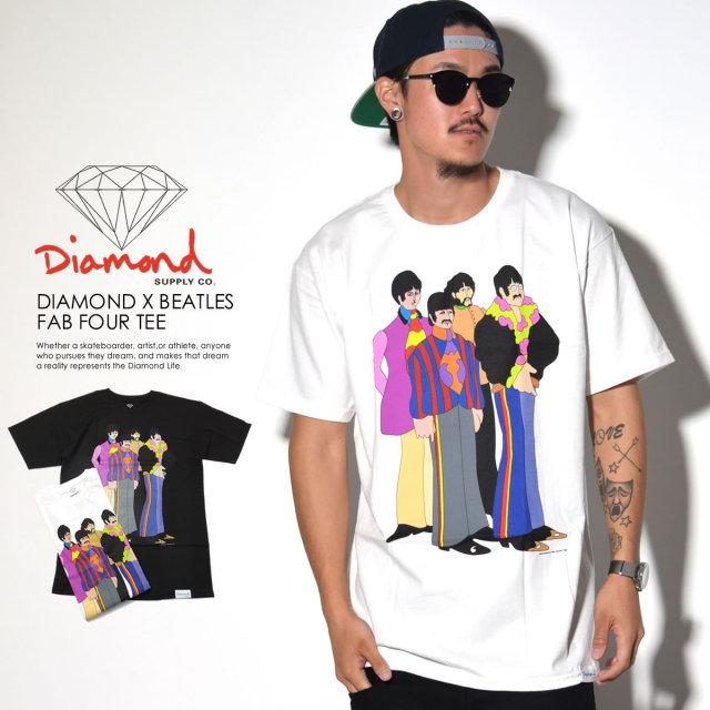 ダイヤモンドサプライ Diamond Supply Co. コラボ Tシャツ メンズ THE BEATLES ビートルズ DIAMOND×BEATLES FAB FOUR TEE (A16DMPA46)