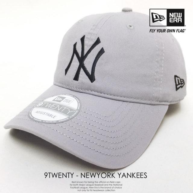 NEW ERA ニューエラ 6パネルキャップ 9TWENTY CLOTH STRAP WASHED COTTON ニューヨーク・ヤンキース グレー×ブラック 11308522 6V9162