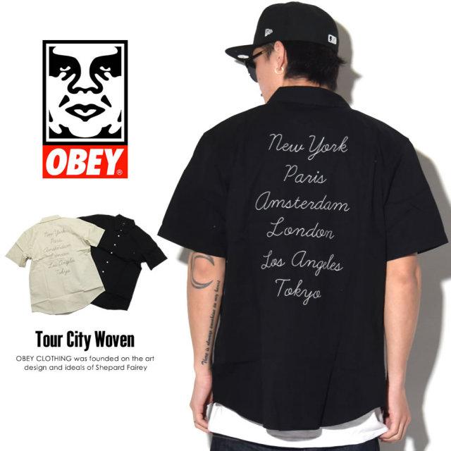 OBEY オベイ 半袖シャツ TOUR CITY WOVEN 181210148 7V1200