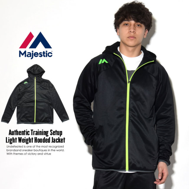 MAJESTIC マジェスティック ジップパーカー AUTHENTIC TRAINING SETUP LIGHT WEIGHT HOODED JACKET XM23-BLK5-MAJ0019 7V1261