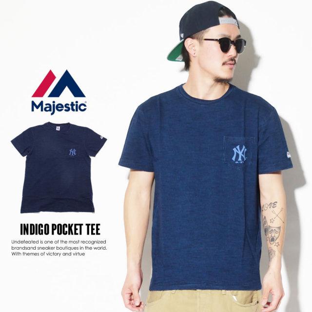 MAJESTIC マジェスティック 半袖Tシャツ INDIGO POCKET TEE MM01-NYK-0233 7V3003