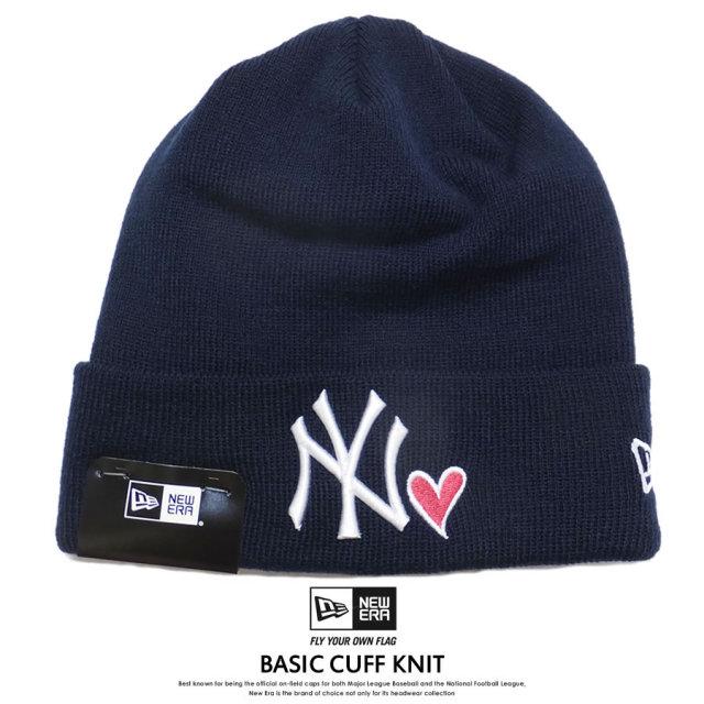 NEW ERA ニューエラ ニットキャップ BASIC CUFF KNIT ニューヨーク・ヤンキース WITH HEART ネイビー 11474696 7V5293