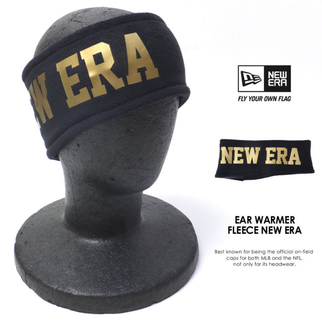 NEW ERA ニューエラ イヤーウォーマー フリース NEW ERA ブラック×ゴールドロゴ 11474618 7V7119