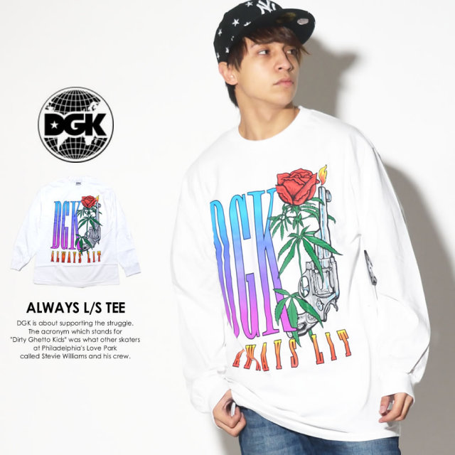 DGK ディージーケー 長袖Tシャツ ALWAYS L/S TEE ホワイト DLS-299 7V7279