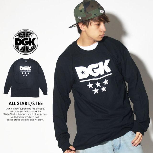 DGK ディージーケー 長袖Tシャツ ALL STAR L/S TEE ブラック DLS-302 7V7280