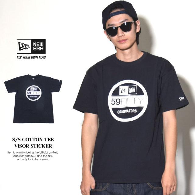 NEW ERA ニューエラ 半袖Tシャツ メンズ VISOR STICKER ネイビー×ホワイト (11403644)