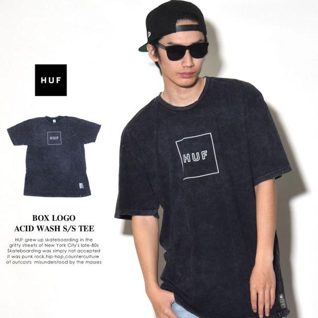 HUF ハフ 半袖Tシャツ BOX LOGO ACID WASH S/S TEE (TS00331)