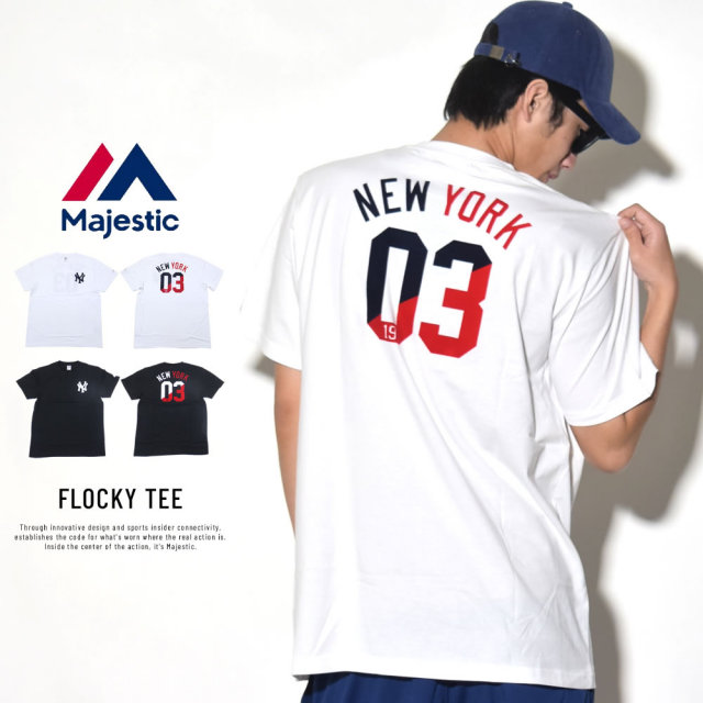 MAJESTIC マジェスティック 半袖Tシャツ FLOCKY TEE (MM01-NYK-8S24)