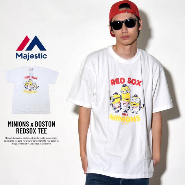 MAJESTIC マジェスティック 半袖Tシャツ メンズ ミニオンズ コラボ MINIONS×BOSTON REDSOX TEE (MM01-BRX-8S900MN)