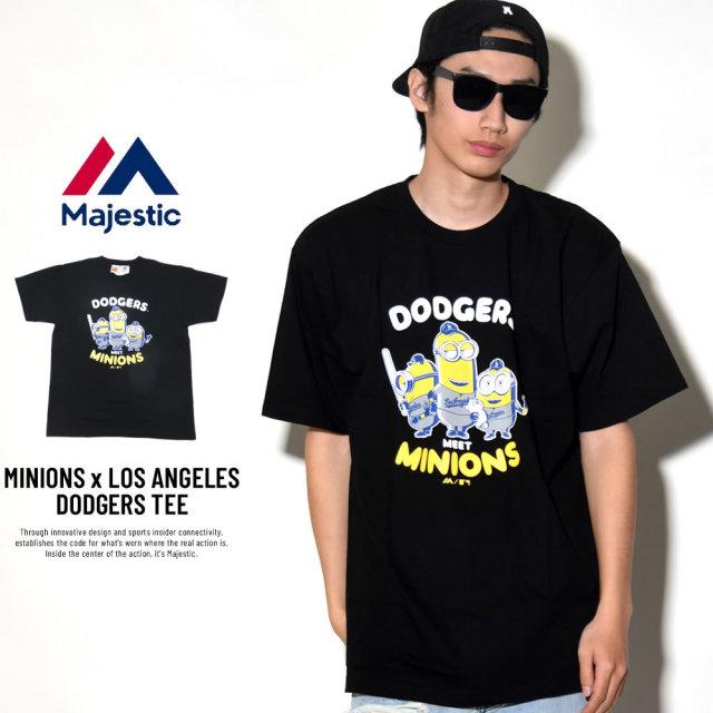 MAJESTIC マジェスティック 半袖Tシャツ メンズ ミニオンズ コラボ MINIONS×LOS ANGELES DODGERS TEE (MM01-LDG-8S900MN)
