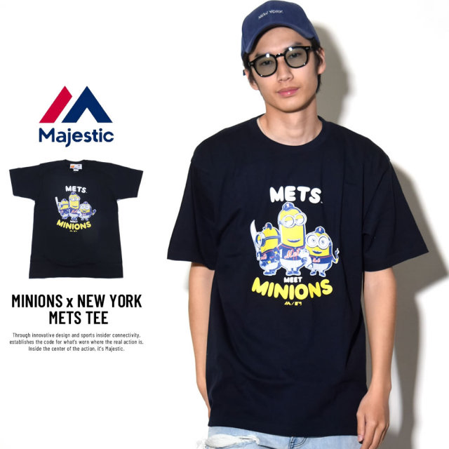 MAJESTIC マジェスティック 半袖Tシャツ メンズ ミニオンズ コラボ MINIONS×NEW YORK METS (MM01-MET-8S900MN)