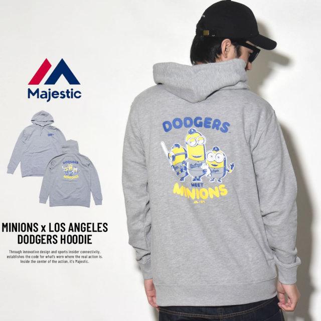 MAJESTIC マジェスティック プルオーバーパーカー メンズ ミニオンズ コラボ MINIONS×LOS ANGELES DODGERS HOODIE (MM06-LDG-8S900MN)