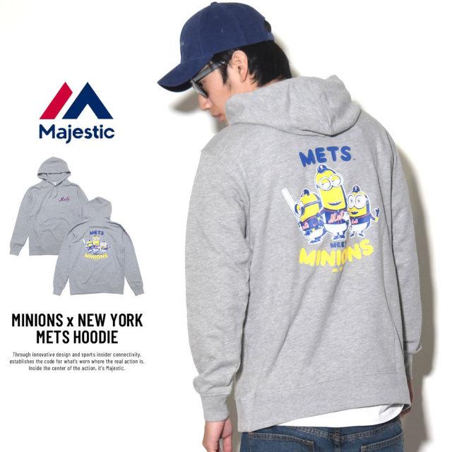 MAJESTIC マジェスティック プルオーバーパーカー メンズ ミニオンズ コラボ MINIONS×NEW YORK METS HOODIE (MM06-MET-8S900MN)