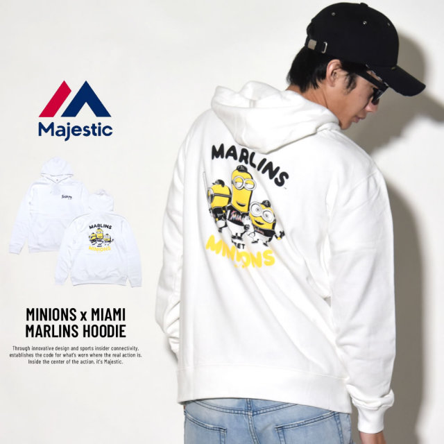 MAJESTIC マジェスティック プルオーバーパーカー メンズ ミニオンズ コラボ MINIONS×MIAMI MARLINS HOODIE (MM06-MIA-8S900MN)