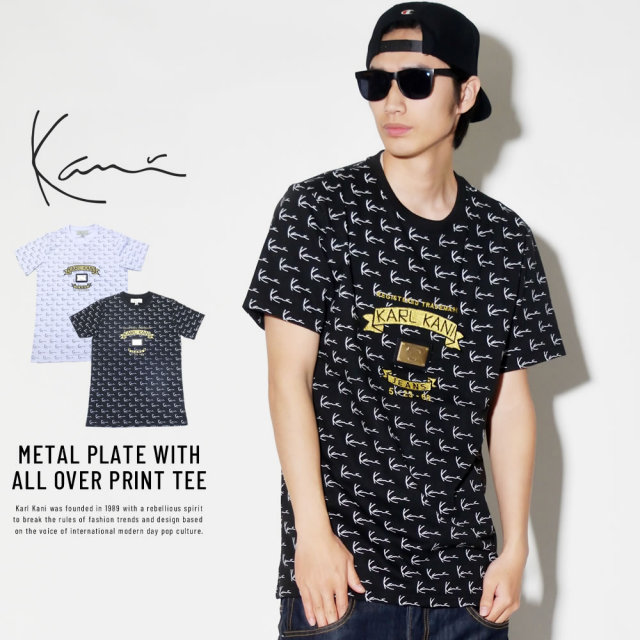 KARL KANI カールカナイ 半袖Tシャツ METAL PLATE WITH ALL OVER PRINT TEE (K1741)