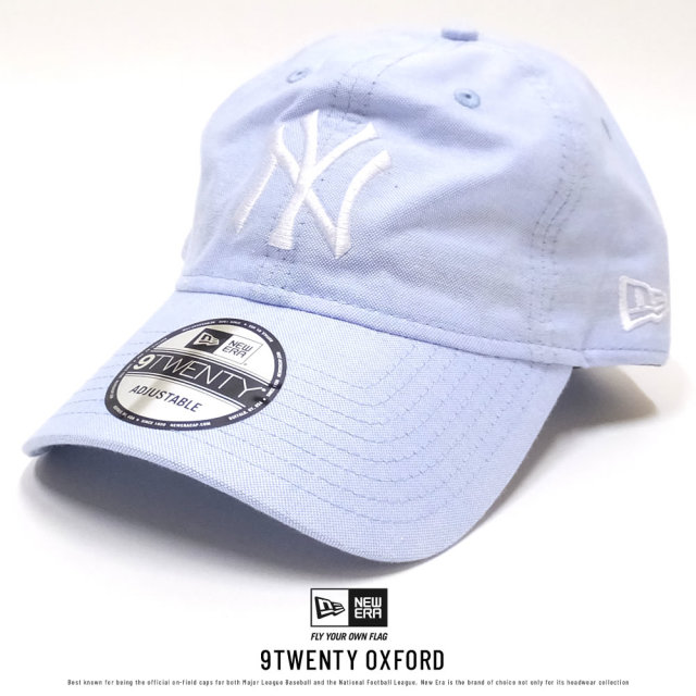 NEW ERA ニューエラ カーブバイザーキャップ 9TWENTY クロスストラップ オックスフォード ニューヨーク・ヤンキース ブルー×ホワイト (11557484)