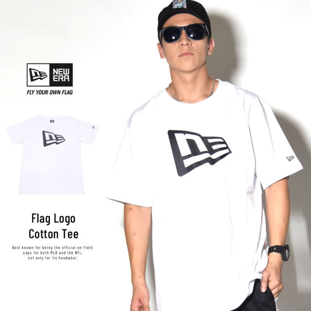 NEW ERA ニューエラ 半袖コットンTシャツ フラッグロゴ ホワイト×ブラック 11782996