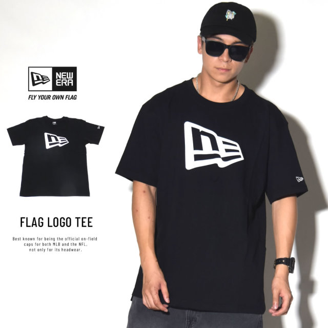 New Era (ニューエラ) 半袖Tシャツ COTTON SHORT SLEEVE T-SHIRT フラッグロゴ ブラック×ホワイト (11782998)