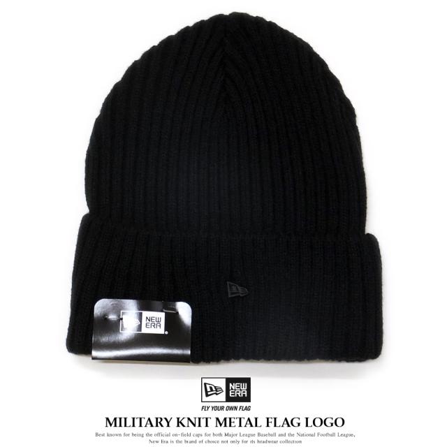 NEW ERA ニューエラ ニットキャップ ミリタリーニット メタルフラッグロゴ ブラック 11781030
