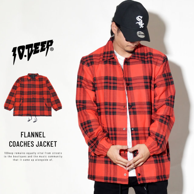 テンディープ 10DEEP チェック フランネル コーチジャケット メンズ FLANNEL COACHES JACKET (183TD0202)