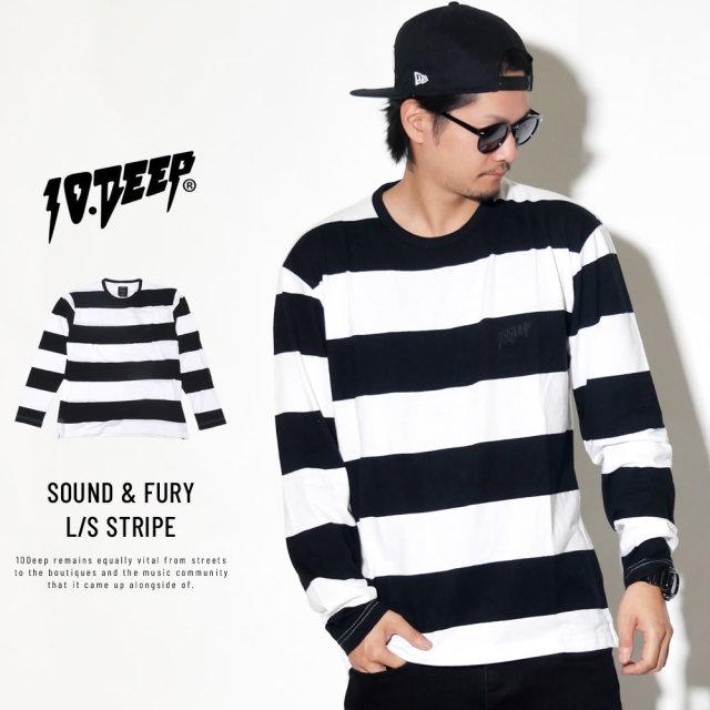 10DEEP テンディープ 長袖Tシャツ SOUND & FURY L/S STRIPE 183TD4027