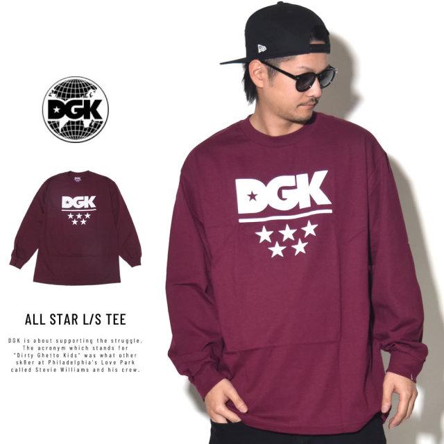 DGK ディージーケー 長袖Tシャツ ALL STAR L/S TEE BURGUNDY PTL-1027