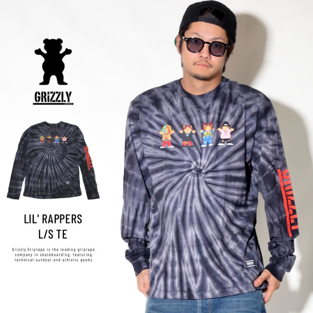Grizzly Griptape グリズリーグリップテープ 長袖Tシャツ LIL' RAPPERS L/S TEE ブラックタイダイ SMB1802P06