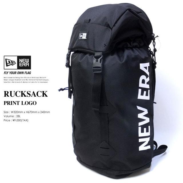 NEW ERA (ニューエラ) バックパック RUCKSACK 35L プリントロゴ ブラック×ホワイト (11556631)