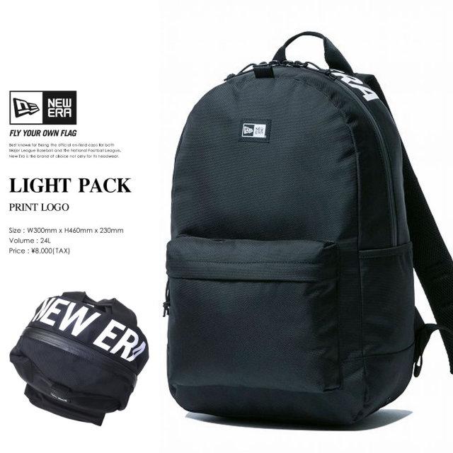 NEW ERA (ニューエラ) バックパック LIGHT PACK 27L プリントロゴ ブラック×ホワイト (11556638)