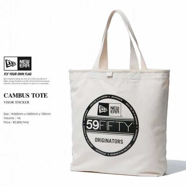 New Era (ニューエラ) トートバッグ CANVAS TOTE BAG 14L バイザーステッカーロゴ アイボリー×ブラック (11556669)