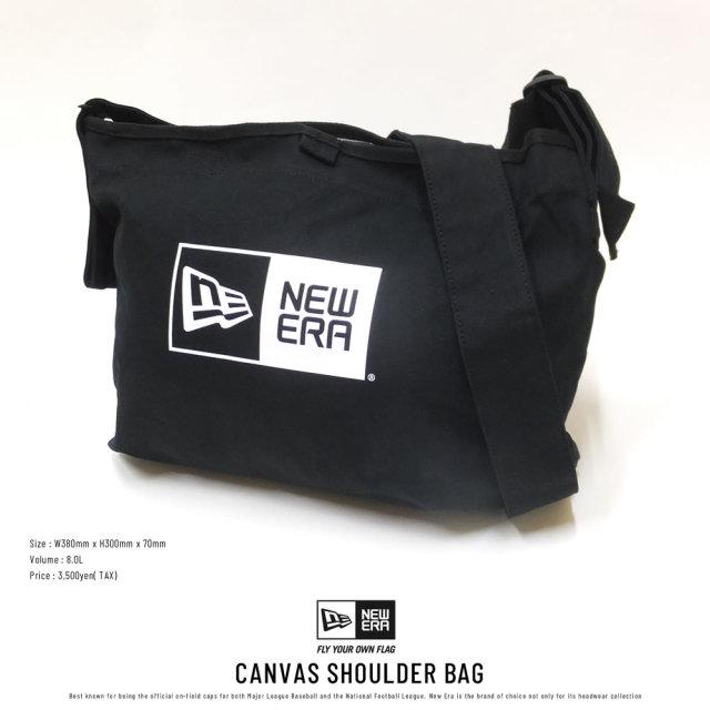 New Era (ニューエラ) ショルダーバッグ CANVAS SHOULDER BAG 8L ボックスロゴ ブラック×ホワイト (11787071)