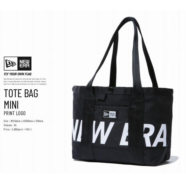 New Era (ニューエラ) トートバッグ TOTE BAG MINI 6L プリントロゴ ブラック×ホワイト (11783255)