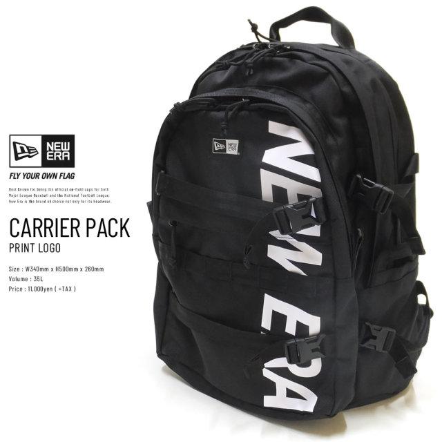 NEW ERA (ニューエラ) バックパック CARRIER PACK 35L プリントロゴ ブラック×ホワイト (11783327)