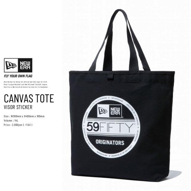 New Era (ニューエラ) トートバッグ CANVAS TOTE BAG 14L バイザーステッカーロゴ ブラック×ホワイト (11783330)