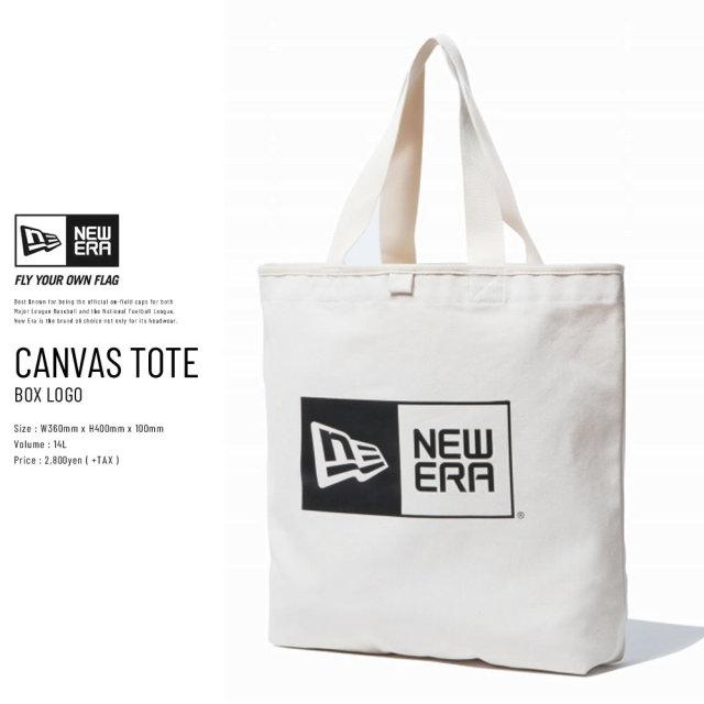 New Era (ニューエラ) トートバッグ CANVAS TOTE BAG 14L ボックスロゴ アイボリー×ブラック (11783339)