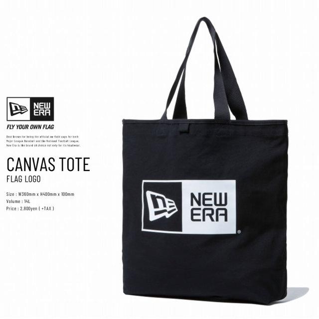 New Era (ニューエラ) トートバッグ CANVAS TOTE BAG 14L ボックスロゴ ブラック×ホワイト (11783340)
