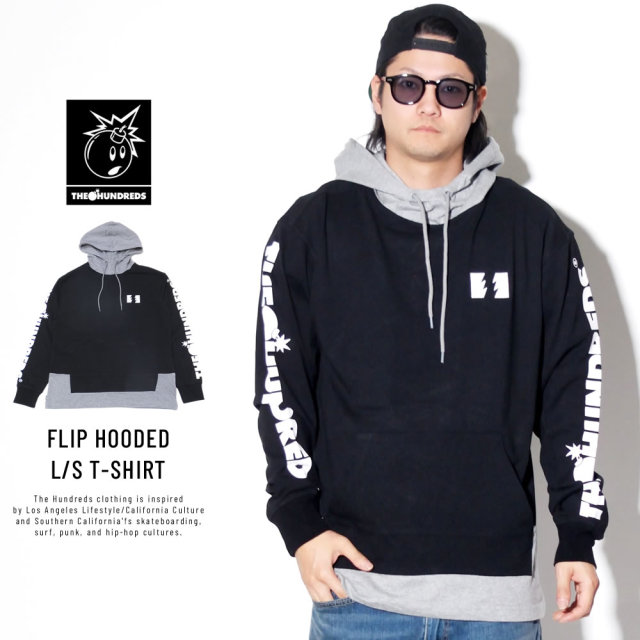 THE HUNDREDS ザ・ハンドレッズ 長袖Tシャツ FLIP HOODED L/S T-SHIRT T19P109004