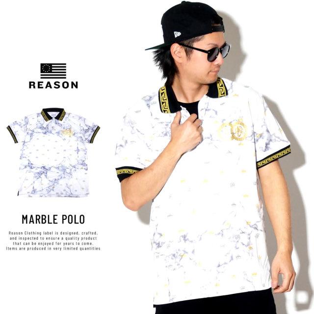 REASON リーズン ポロシャツ マーブル模様 クラウン モノグラム MARBLE POLO S1-81