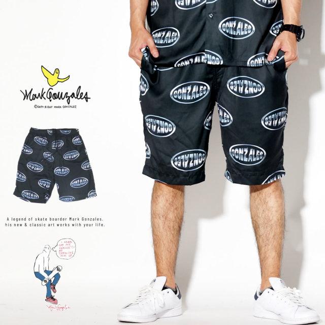 MARK GONZALES ハーフパンツ サテン ショートパンツ メタリックロゴ 2G3-4901