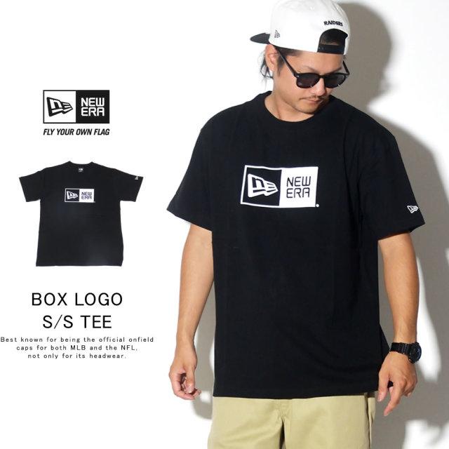 New Era (ニューエラ) 半袖Tシャツ COTTON SHORT SLEEVE T-SHIRT ボックスロゴ ブラック×ホワイト (11783008)