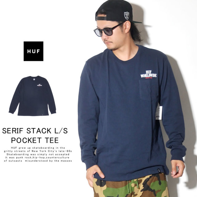 HUF ハフ 長袖Tシャツ SERIF STACK L/S POCKET TEE TS00872