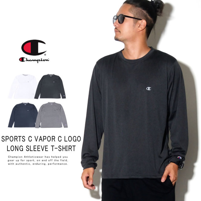 CHAMPION チャンピオン 長袖Tシャツ SPORTS C VAPOR C LOGO LONG SLEEVE T-SHIRT C3-QS401
