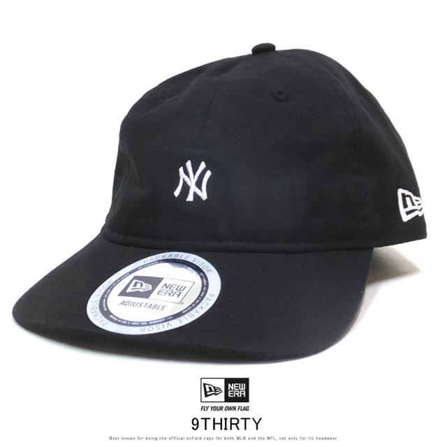 NEW ERA ニューエラ カーブバイザーキャップ 9THIRTY クロスストラップ パッカブル ニューヨーク・ヤンキース ブラック × スノーホワイト 12108998